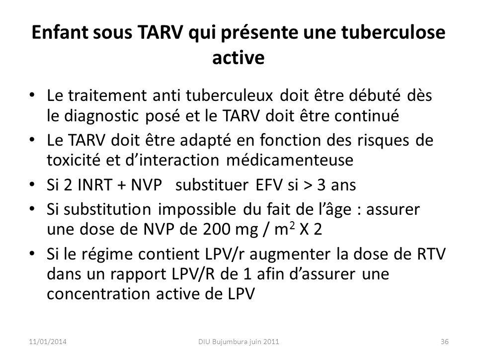 Enfant sous TARV qui présente une tuberculose active