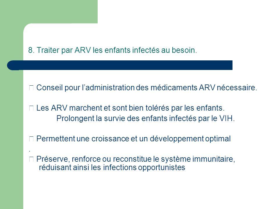 8. Traiter par ARV les enfants infectés au besoin.