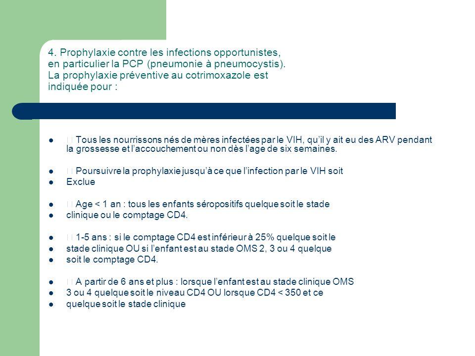 4. Prophylaxie contre les infections opportunistes, en particulier la PCP (pneumonie à pneumocystis). La prophylaxie préventive au cotrimoxazole est indiquée pour :