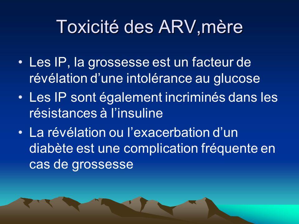 Toxicité des ARV,mère Les IP, la grossesse est un facteur de révélation d'une intolérance au glucose.
