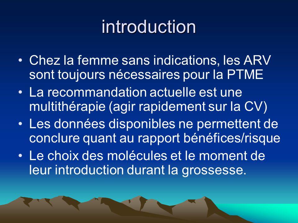 introduction Chez la femme sans indications, les ARV sont toujours nécessaires pour la PTME.