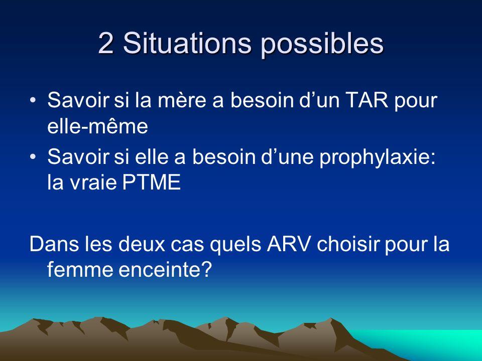 2 Situations possibles Savoir si la mère a besoin d'un TAR pour elle-même. Savoir si elle a besoin d'une prophylaxie: la vraie PTME.
