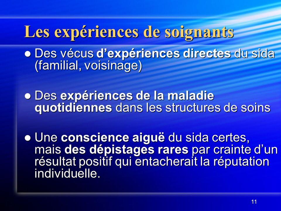Les expériences de soignants