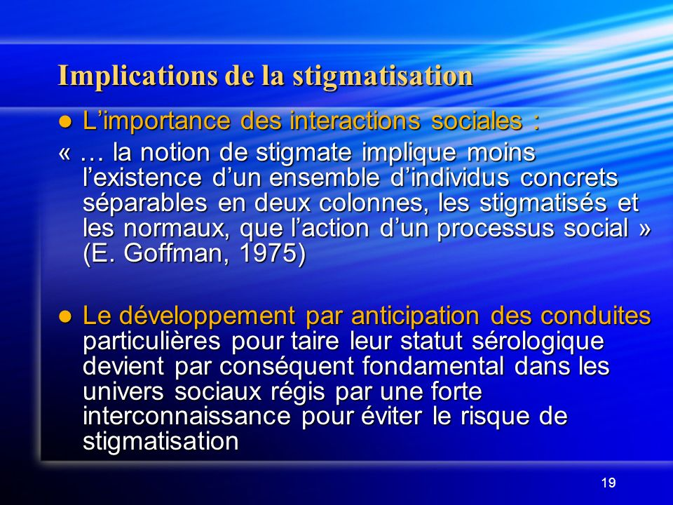 Implications de la stigmatisation