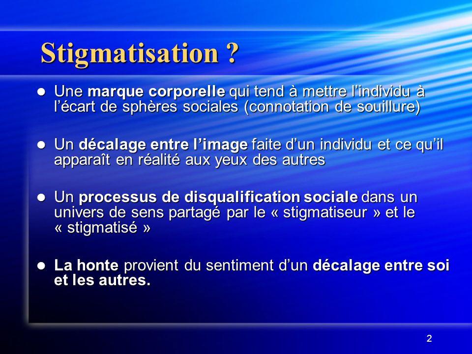 Stigmatisation Une marque corporelle qui tend à mettre l'individu à l'écart de sphères sociales (connotation de souillure)