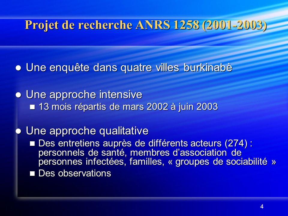 Projet de recherche ANRS 1258 (2001-2003)