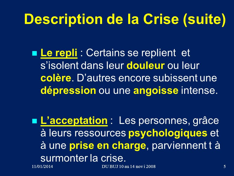 Description de la Crise (suite)
