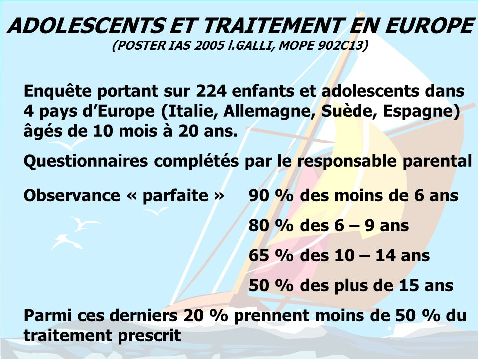 ADOLESCENTS ET TRAITEMENT EN EUROPE (POSTER IAS 2005 l
