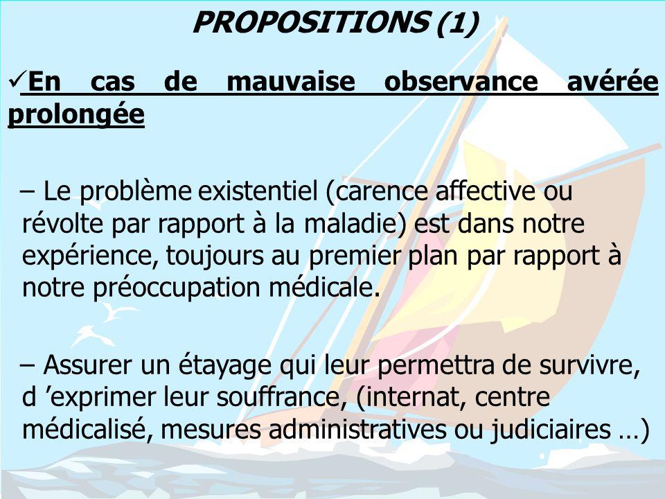 PROPOSITIONS (1) En cas de mauvaise observance avérée prolongée