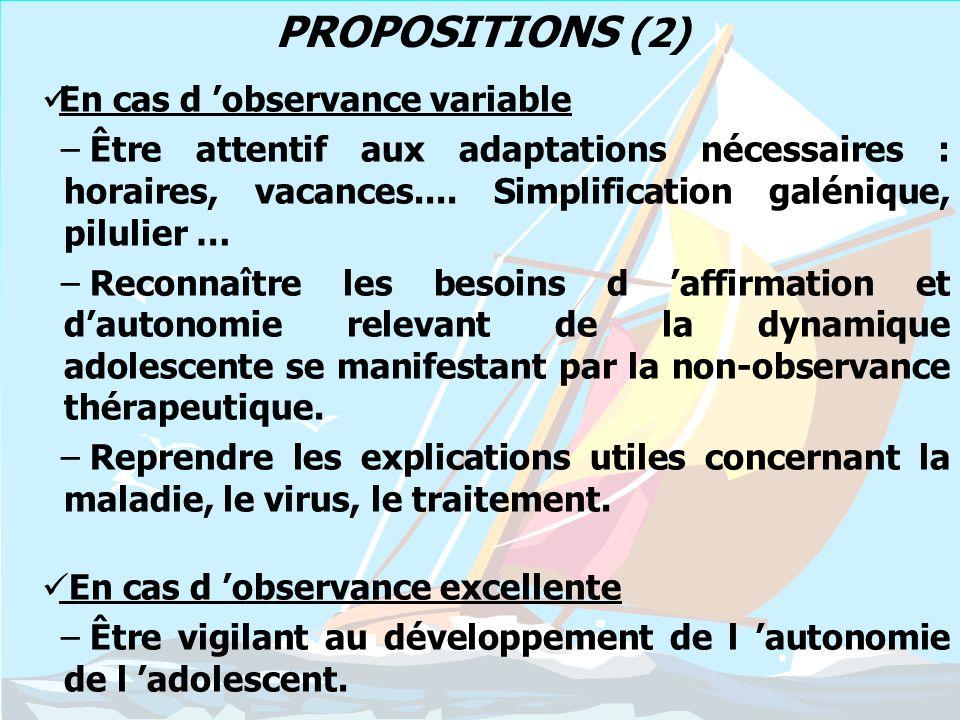 PROPOSITIONS (2) En cas d 'observance variable