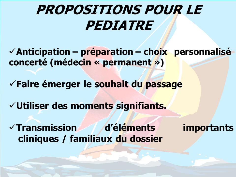 PROPOSITIONS POUR LE PEDIATRE