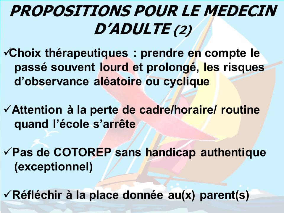PROPOSITIONS POUR LE MEDECIN D'ADULTE (2)