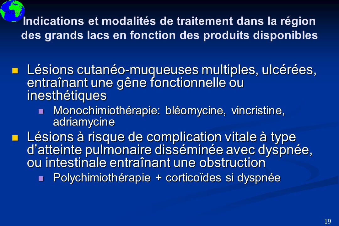 Indications et modalités de traitement dans la région des grands lacs en fonction des produits disponibles