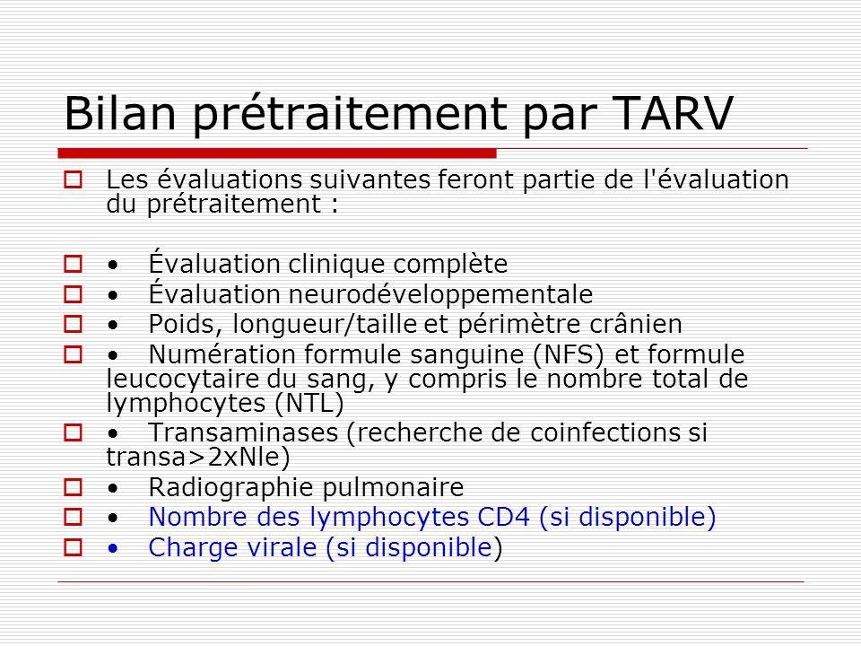 Bilan prétraitement par TARV
