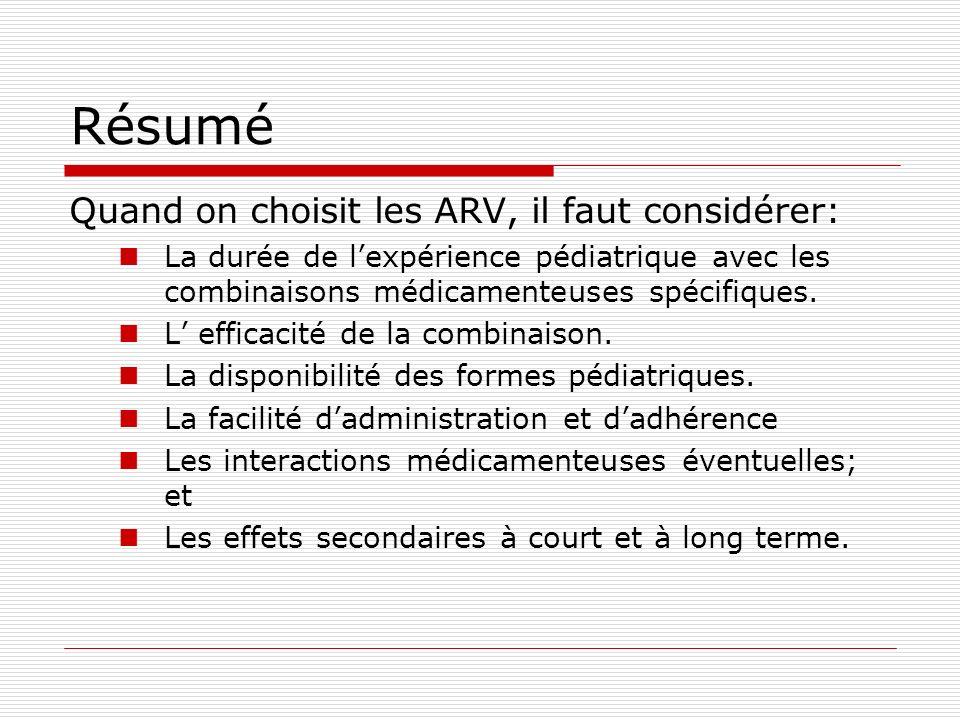 Résumé Quand on choisit les ARV, il faut considérer:
