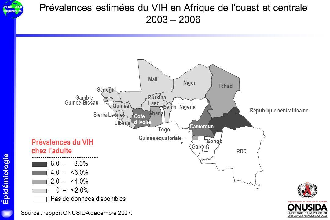 Prévalences estimées du VIH en Afrique de l'ouest et centrale 2003 – 2006