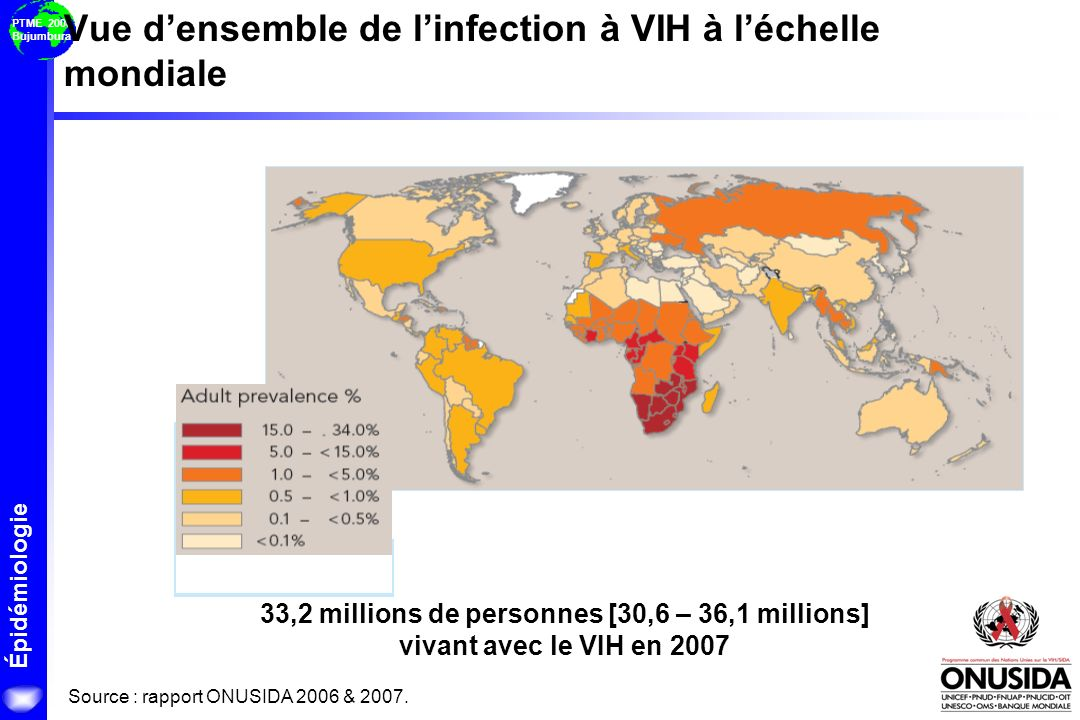 Vue d'ensemble de l'infection à VIH à l'échelle mondiale