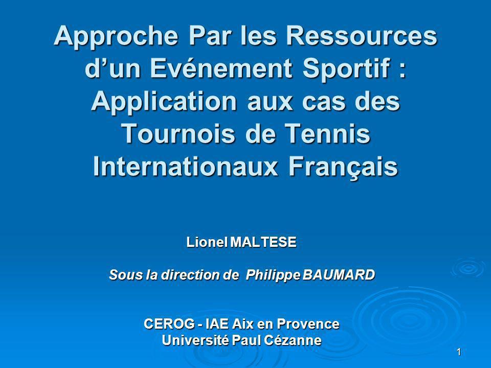 Approche Par les Ressources d'un Evénement Sportif : Application aux cas des Tournois de Tennis Internationaux Français