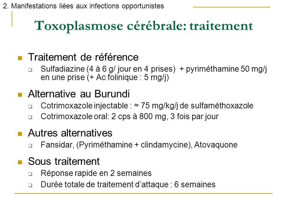 Toxoplasmose cérébrale: traitement