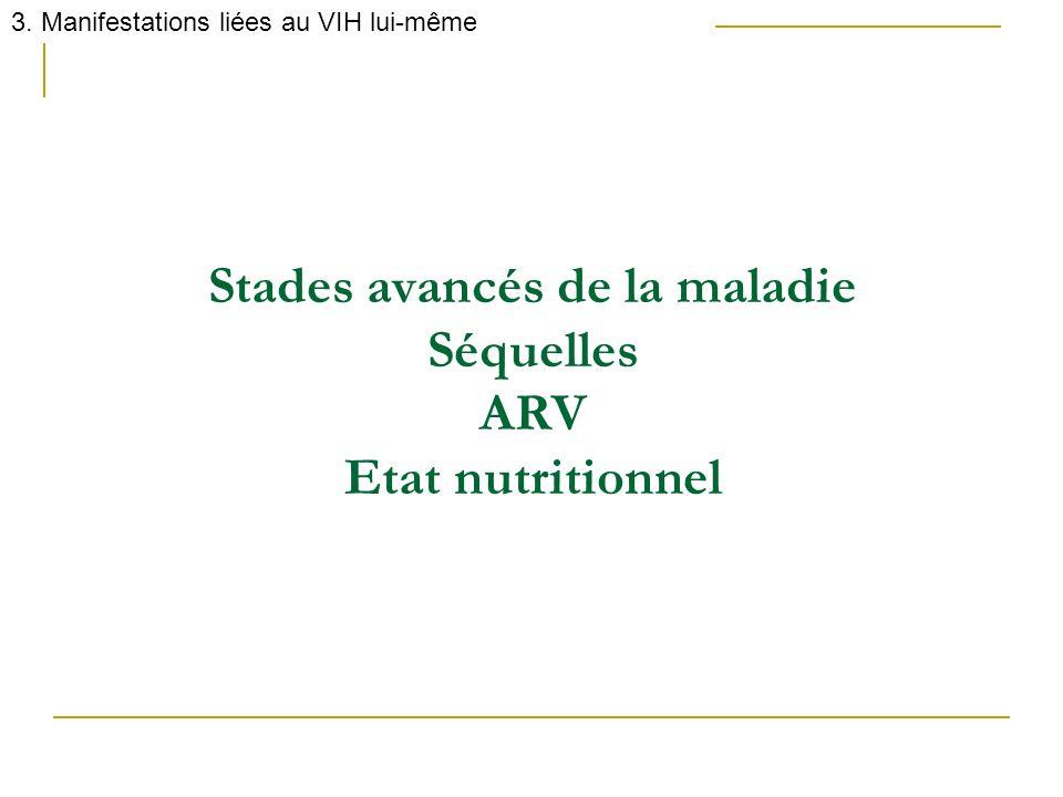 Stades avancés de la maladie Séquelles ARV Etat nutritionnel