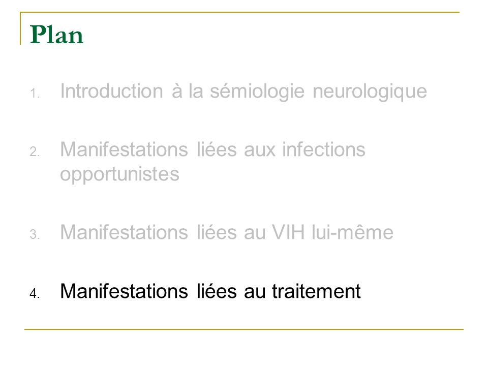 Plan Introduction à la sémiologie neurologique