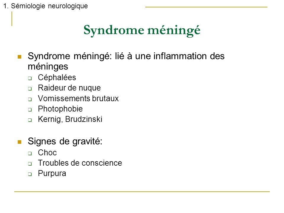Syndrome méningé Syndrome méningé: lié à une inflammation des méninges