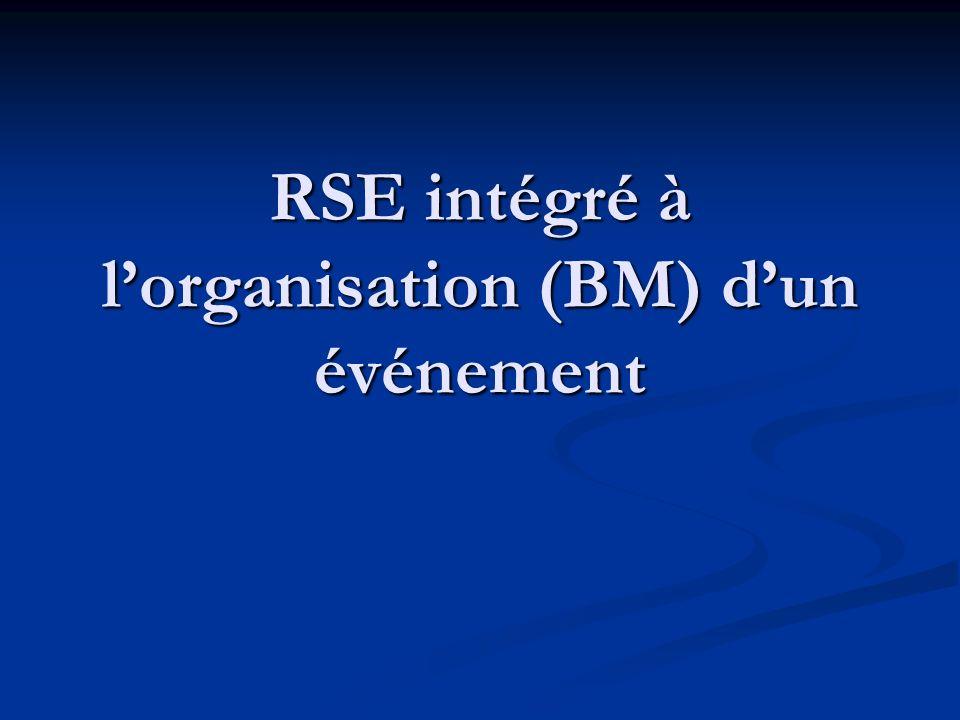 RSE intégré à l'organisation (BM) d'un événement