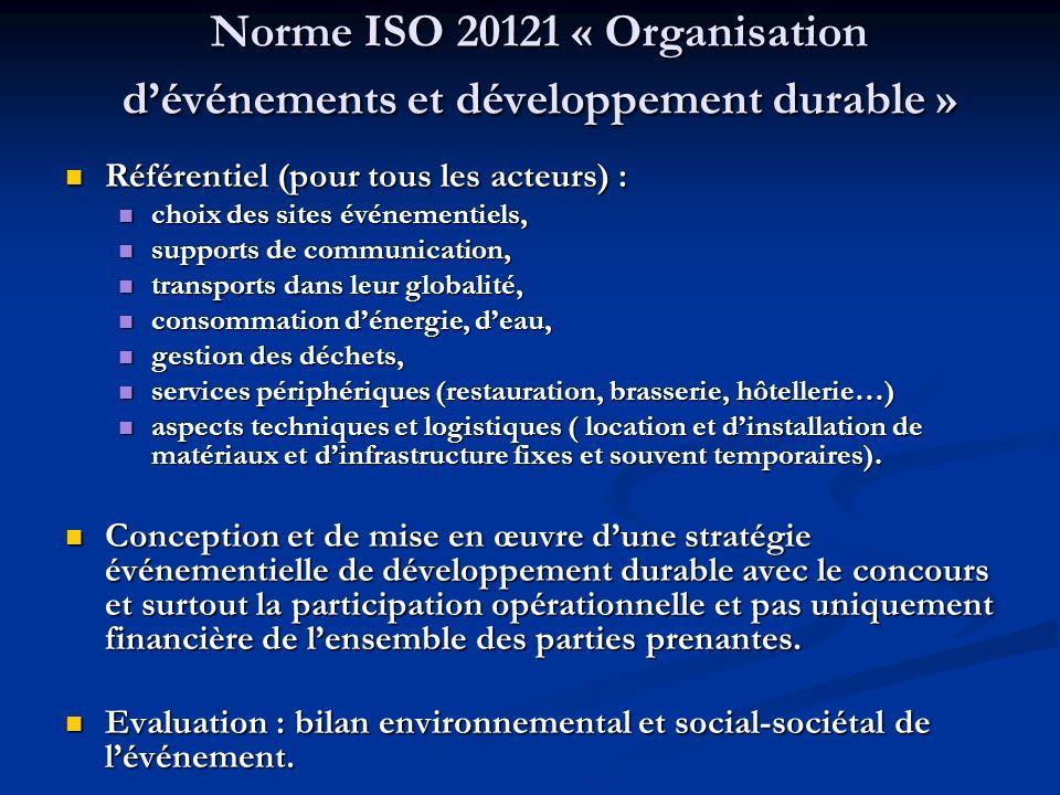 Norme ISO 20121 « Organisation d'événements et développement durable »
