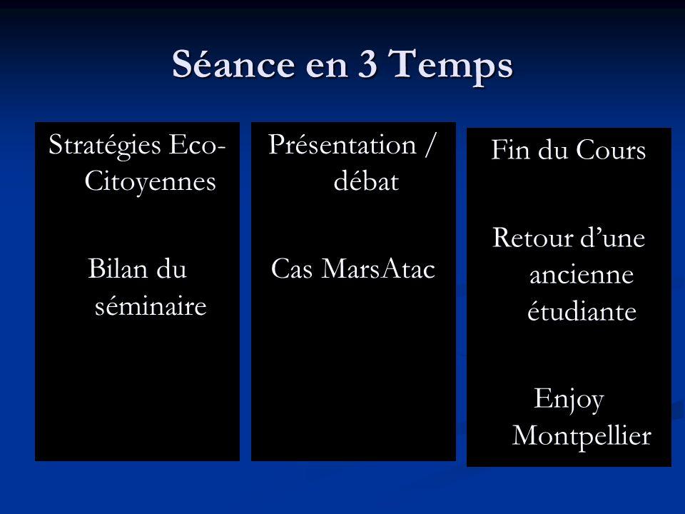 Séance en 3 Temps Stratégies Eco-Citoyennes Bilan du séminaire