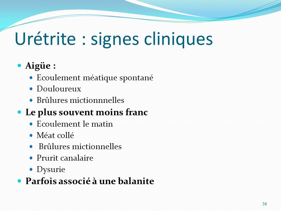Urétrite : signes cliniques