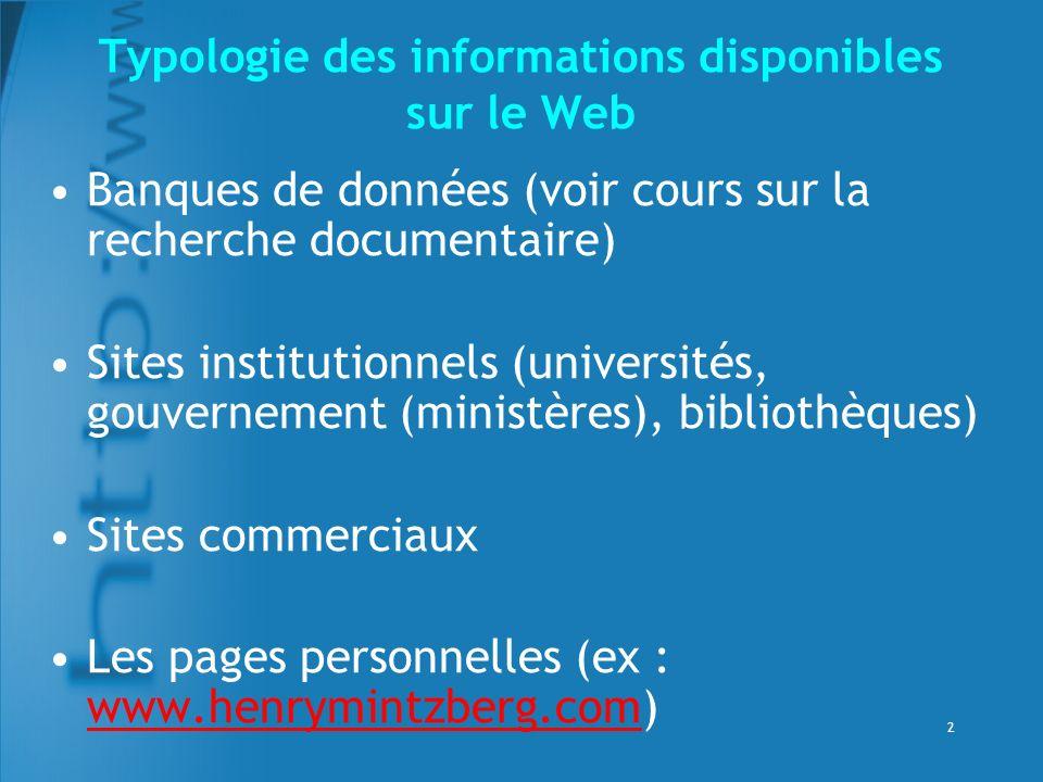 Typologie des informations disponibles sur le Web