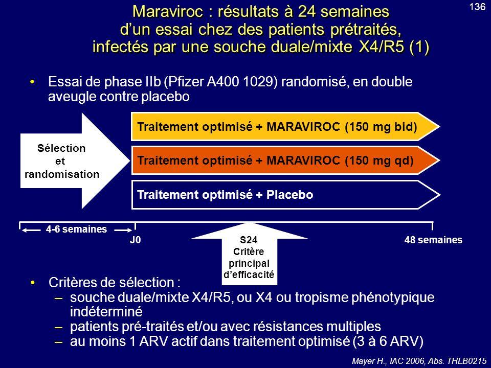 Sélection et randomisation Critère principal d'efficacité