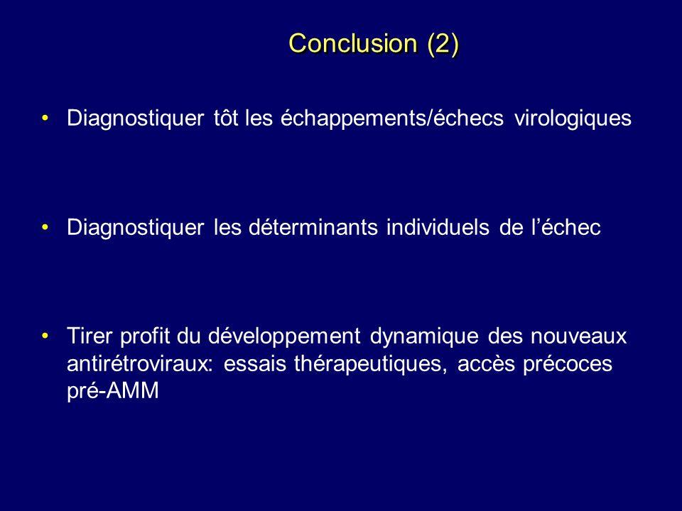 Conclusion (2) Diagnostiquer tôt les échappements/échecs virologiques