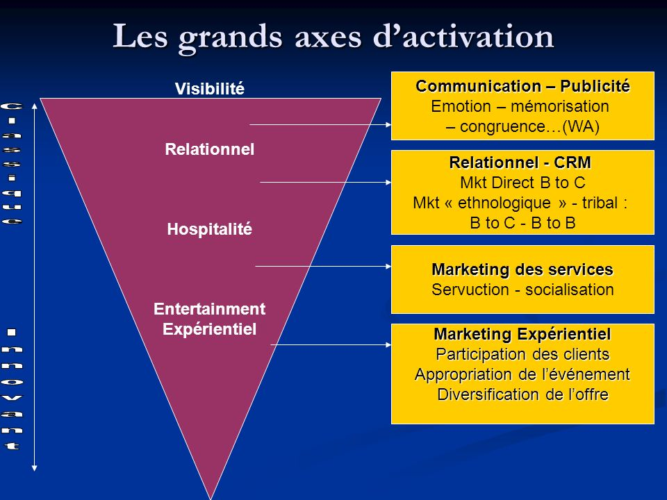 Les grands axes d'activation
