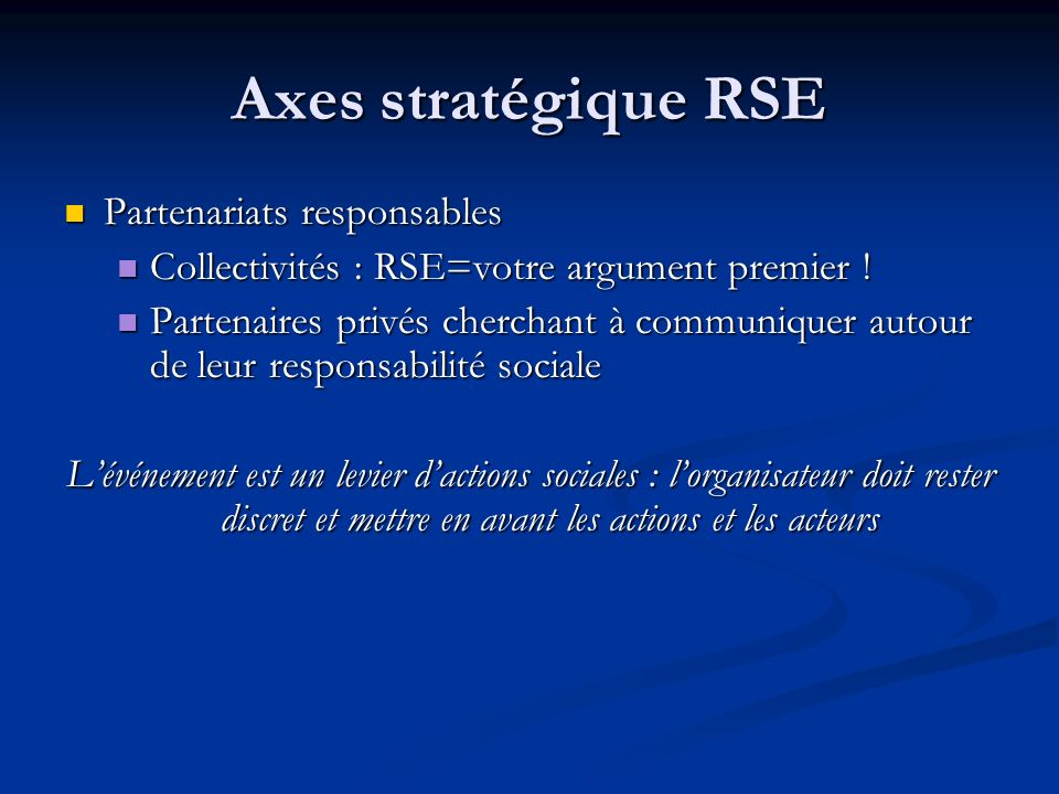 Axes stratégique RSE Partenariats responsables