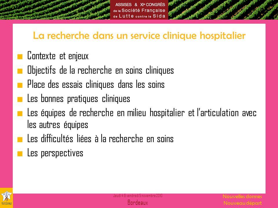 La recherche dans un service clinique hospitalier