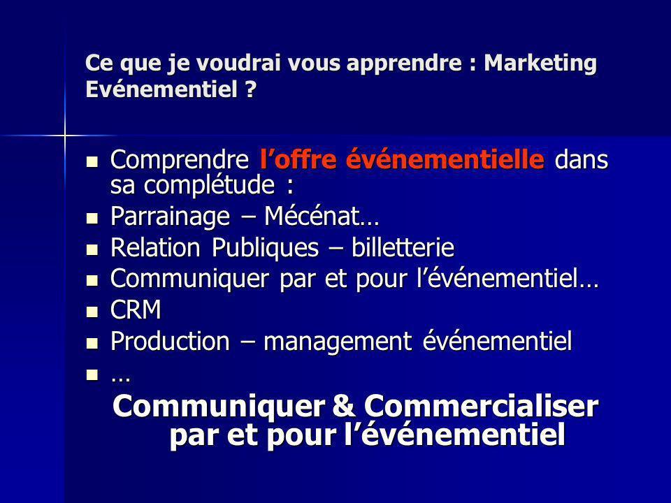 Ce que je voudrai vous apprendre : Marketing Evénementiel