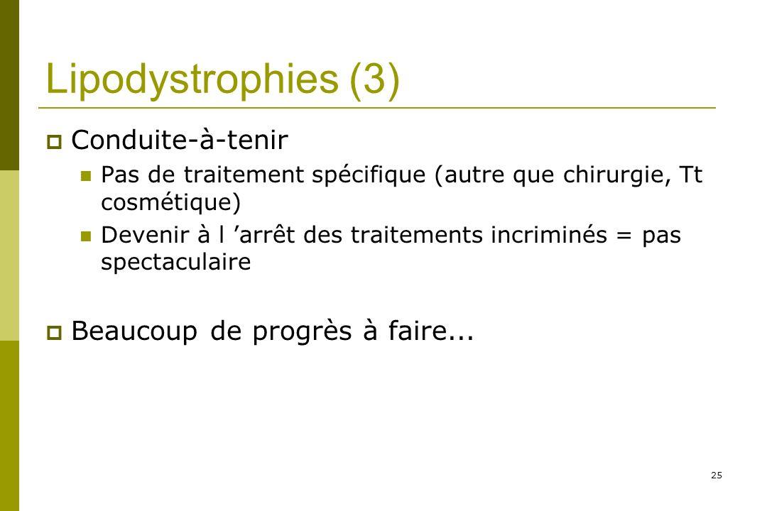 Lipodystrophies (3) Conduite-à-tenir Beaucoup de progrès à faire...