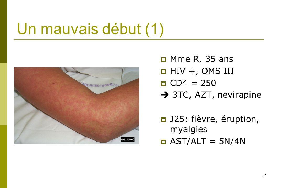 Un mauvais début (1) Mme R, 35 ans HIV +, OMS III CD4 = 250