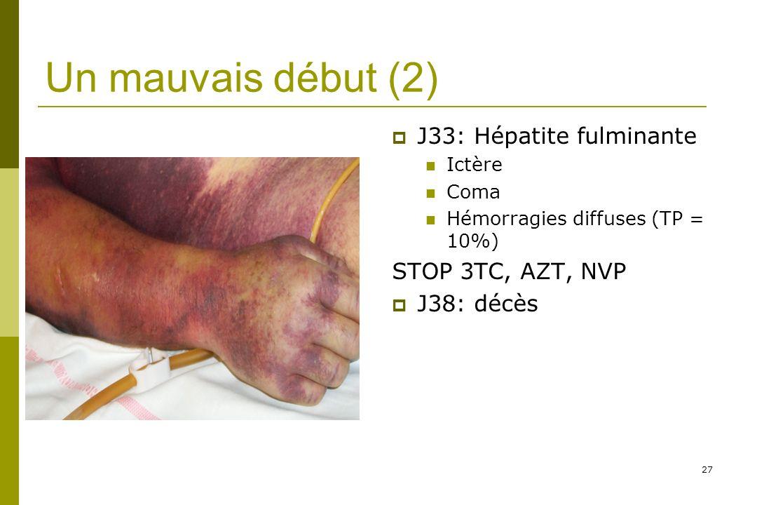 Un mauvais début (2) J33: Hépatite fulminante STOP 3TC, AZT, NVP