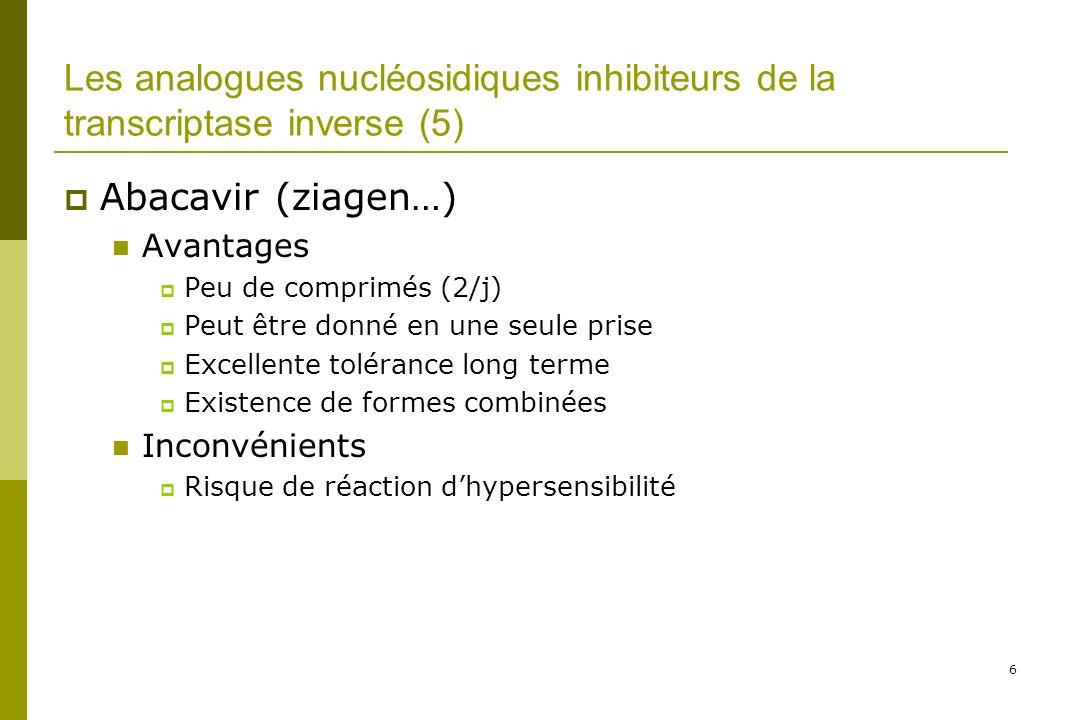 Les analogues nucléosidiques inhibiteurs de la transcriptase inverse (5)
