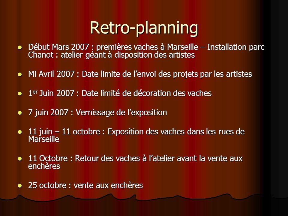 Retro-planning Début Mars 2007 : premières vaches à Marseille – Installation parc Chanot : atelier géant à disposition des artistes.