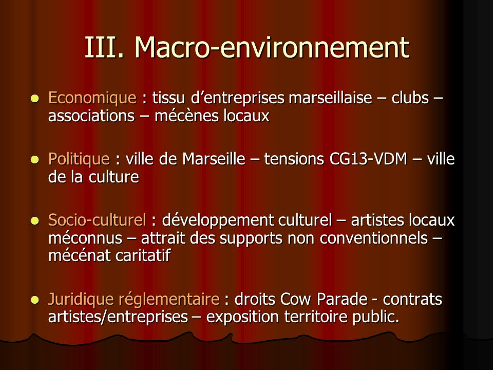 III. Macro-environnement
