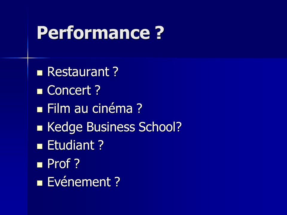 Performance Restaurant Concert Film au cinéma