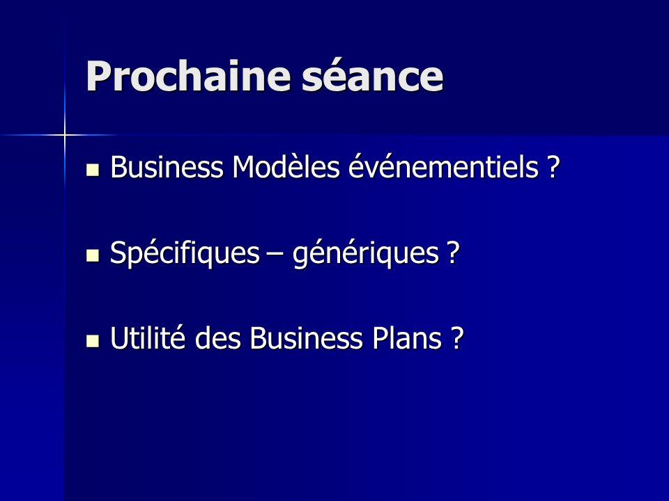 Prochaine séance Business Modèles événementiels