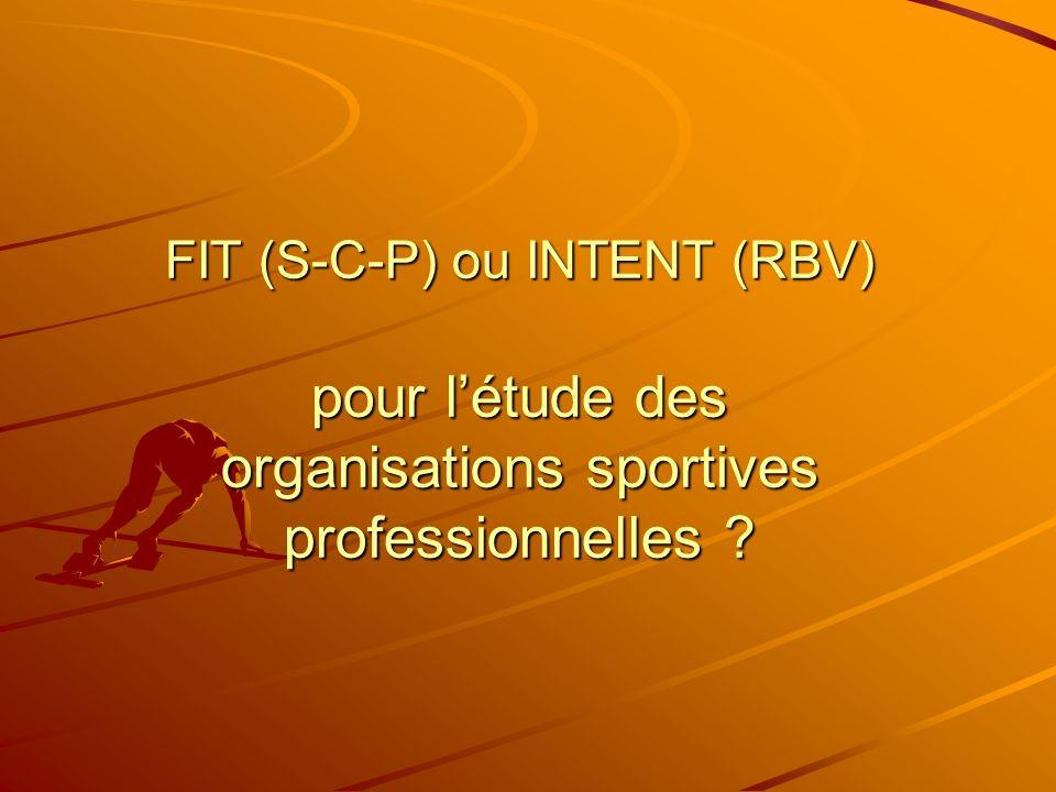 FIT (S-C-P) ou INTENT (RBV) pour l'étude des organisations sportives professionnelles