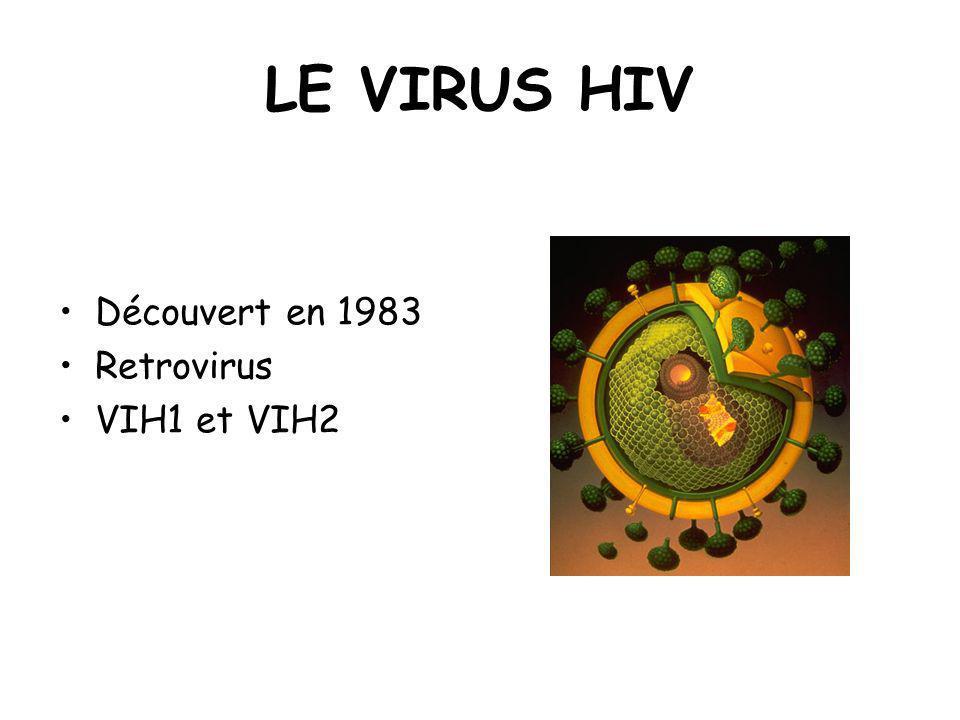 LE VIRUS HIV Découvert en 1983 Retrovirus VIH1 et VIH2