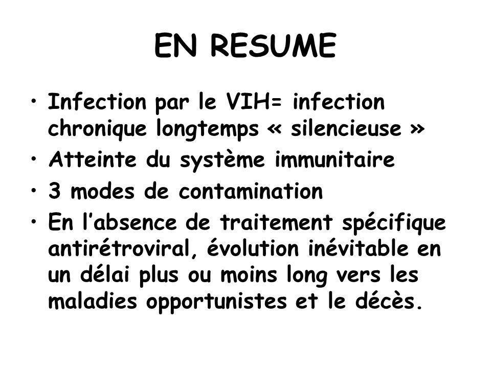 EN RESUME Infection par le VIH= infection chronique longtemps « silencieuse » Atteinte du système immunitaire.