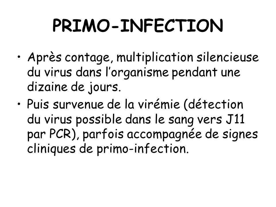 PRIMO-INFECTION Après contage, multiplication silencieuse du virus dans l'organisme pendant une dizaine de jours.