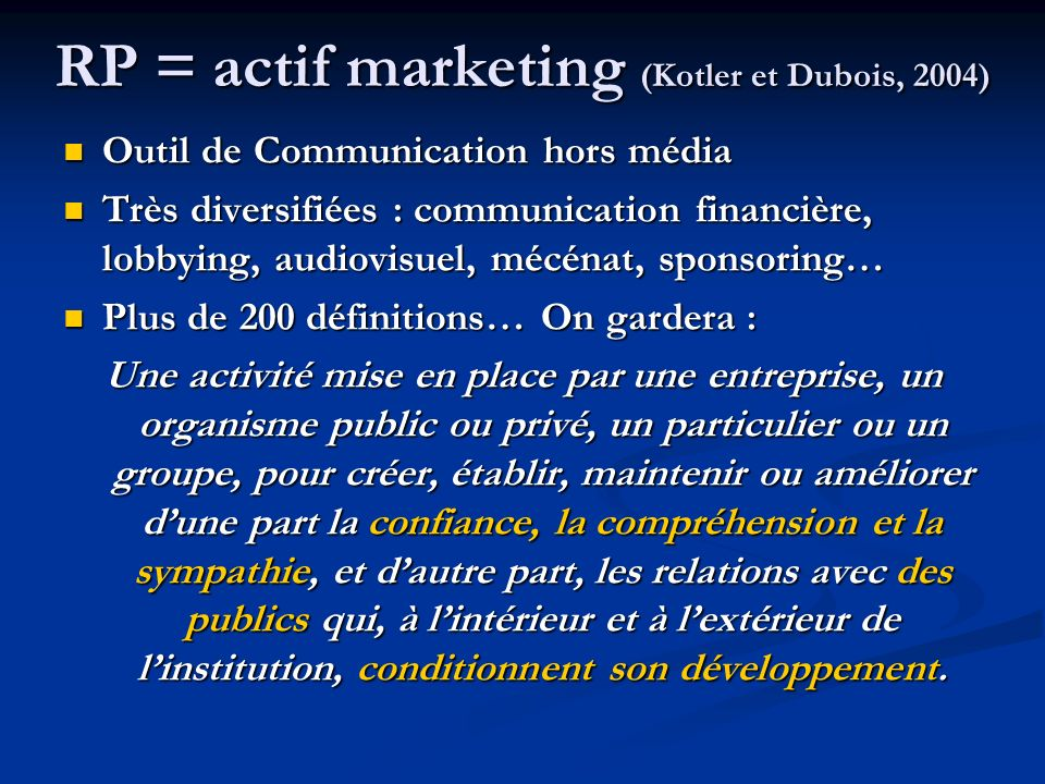 RP = actif marketing (Kotler et Dubois, 2004)